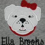 This DAWG applique can be made with or without the bow.  Add it to a Euro tote for the ultimate game day accessory.