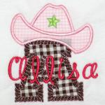 Change fabrics & thread colors to use this for a cowboy.  Come in letters A-Z