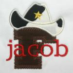 All letters of the alphabet are available in this cowboy applique - PA