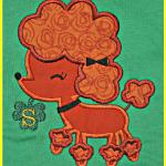 This cute poodle applique was done in orange for St. Patrick's Day.  However, you can choose any color fabric for the poodle you would like.  Shamrock also does not come with it.  PA