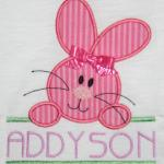 What a precious bunny design.  Leave the bow off and change the fabric color and you have a cute design for boys too. AD