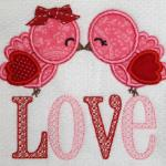 This LOVE bird applique is large and therefore may not be able to fit on some items.  Please inquire or details.  Add bow $1.00 for a girl bird.