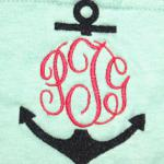 This an EMBROIDERED Anchor with Initials - NOT an applique
