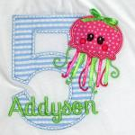 To use this cute octopus applique for a boy, the bow and ribbons can be left off.  ADD $2.00 for the bow and ribbons for a girl.