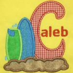 This applique is available with all letters of the alphabet.