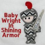 Applique Knight & Name Included in Price/Additional Writing Extra