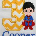 The super hero here is totally embroidered.  It is NOT an applique.  You can add any applique number you would like.  Add $5.00 for the number of stitches involved in this design.  Includes name.