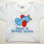 Shirt, Applique Airplane & Name Included --  Happy 1st Birthday Extra
