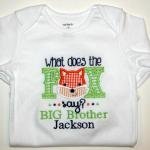 This unique design can be used for a boy or girl by changing the fabric colors.  Extra $$ to add BIG Brother or BIG Sister
