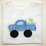 This applique is large and will not fit on smaller items.  Big Brother extra $.