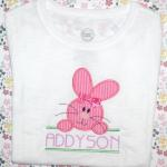 Oh so cute!  Make it a boy bunny by leaving off the bow and changing the fabrics.   Add $1.00 extra for the bow.