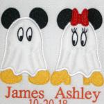 Design includes either Mickey Mouse or Minnie Mouse and Name