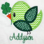 Add a bow (as shown on the APPLIQUE page) to make it a sweet girly bird.  Add $1.00 for the bow.