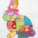This adorable raggedy patchwork bunny is sewn with 13 different pieces of fabric.  Add a bow at the ears to make it a girl bunny or add a bow tie at the neck for a boy bunny.  Bows $1.00 Extra AM