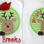 This adorable applique can be used for a boy or add a bow to make it for a girl.  Bow $1.00 extra.