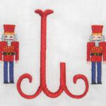 These are totally embroidered Nutcrackers.  Use them with a name, initials or just a single letter.