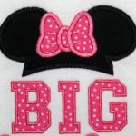 This applique was used to reveal a BIG Sister.  You can also add a name to it.  The ears/bow can be changed up for just an everyday shirt without adding the BIG Sister to it.  So cute!