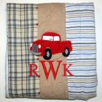 I added this vintage truck and monogram to this beautiful baby quilt.