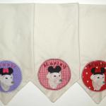 These adorable Minnie and Mickey Mouse bandanas were made for Marley, Mollie & Maxie.  The 3 best four legged children.